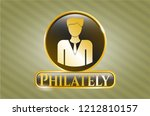 gold shiny emblem with... | Shutterstock .eps vector #1212810157
