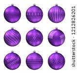 violet christmas balls isolated ... | Shutterstock .eps vector #1212826201
