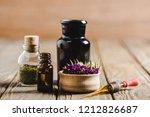 glass bottles of essential oils ... | Shutterstock . vector #1212826687