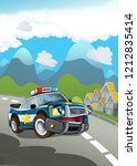 cartoon scene police car on the ... | Shutterstock . vector #1212835414