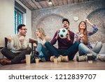 happy friends or football fans...   Shutterstock . vector #1212839707