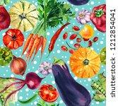 vegetable mix of watercolor... | Shutterstock . vector #1212854041