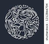 vector design of exotic bird in ... | Shutterstock .eps vector #1212866704