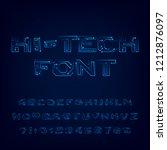 hi tech font alphabet. digital... | Shutterstock .eps vector #1212876097