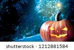 halloween pumpkins  in a mystic ...   Shutterstock . vector #1212881584
