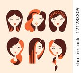 fashion girls with hairstyles and haircuts vector eps 10 - stock vector