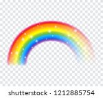 colorful rainbow with sparkles... | Shutterstock .eps vector #1212885754