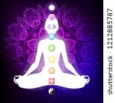 meditating woman in lotus pose. ...   Shutterstock .eps vector #1212885787