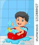 cartoon little boy taking a bath | Shutterstock .eps vector #1212888427