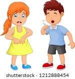 cartoon little boy coughing | Shutterstock .eps vector #1212888454