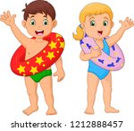 cartoon happy kid with... | Shutterstock .eps vector #1212888457