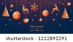 low poly copper christmas... | Shutterstock .eps vector #1212892291