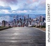 hongkong skyline and blank floor | Shutterstock . vector #1212893647