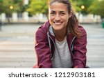 portrait of smiling woman... | Shutterstock . vector #1212903181
