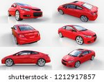red small sports car coupe. 3d... | Shutterstock . vector #1212917857