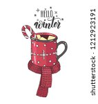 hand drawn cozy cup of hot... | Shutterstock . vector #1212923191