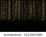 golden flying confetti... | Shutterstock . vector #1212931504