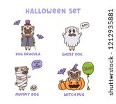 set of helloween dogs in... | Shutterstock .eps vector #1212935881