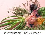 fresh herbs  essential oil ... | Shutterstock . vector #1212949357
