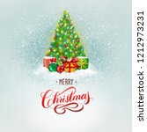 watercolor christmas tree hand... | Shutterstock . vector #1212973231