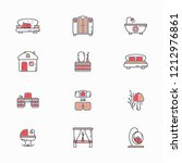 furniture icons line style with ... | Shutterstock .eps vector #1212976861