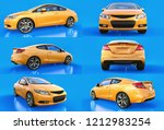 set yellow small sports car... | Shutterstock . vector #1212983254