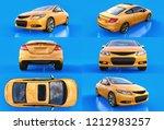 set yellow small sports car...   Shutterstock . vector #1212983257