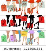 set of sale banners. woman's... | Shutterstock .eps vector #1213001881
