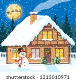 suburban house covered snow.... | Shutterstock .eps vector #1213010971