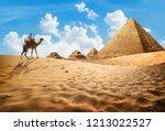 bedouin on camel near pyramids... | Shutterstock . vector #1213022527