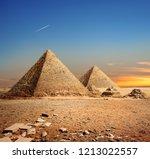 egyptian pyramids in the desert ... | Shutterstock . vector #1213022557