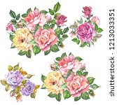 set of roses bouquets.watercolor | Shutterstock . vector #1213033351