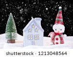 christmas night idyll with... | Shutterstock . vector #1213048564