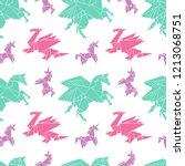 origami. paper figures. magical ... | Shutterstock .eps vector #1213068751