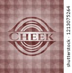 cheek red seamless badge with... | Shutterstock .eps vector #1213075264