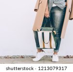young woman in elegant outfit... | Shutterstock . vector #1213079317
