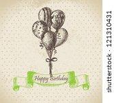 balloons. happy birthday hand... | Shutterstock .eps vector #121310431