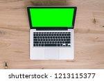 laptop on wooden background ...   Shutterstock . vector #1213115377