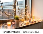 hygge  decoration and christmas ... | Shutterstock . vector #1213120561