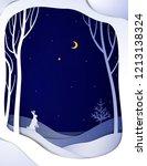 paper winter forest night... | Shutterstock .eps vector #1213138324