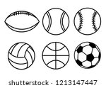Collection Of Sport Balls. Line ...