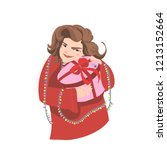 smiling girl in a red sweater... | Shutterstock . vector #1213152664