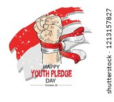 happy youth pledge day   Shutterstock .eps vector #1213157827
