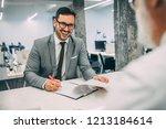job interview  businessman... | Shutterstock . vector #1213184614