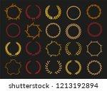 vector laurel autumn wreaths on ... | Shutterstock .eps vector #1213192894