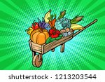 autumn harvest in a wooden farm ... | Shutterstock .eps vector #1213203544