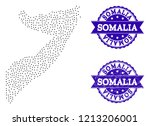 dotted black map of somalia and ... | Shutterstock .eps vector #1213206001