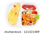 Omelette with fresk salad in white plastic box. - stock photo