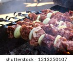 raw meat  cooked for kebabs ... | Shutterstock . vector #1213250107