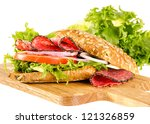 salami sandwich with full corn... | Shutterstock . vector #121326859